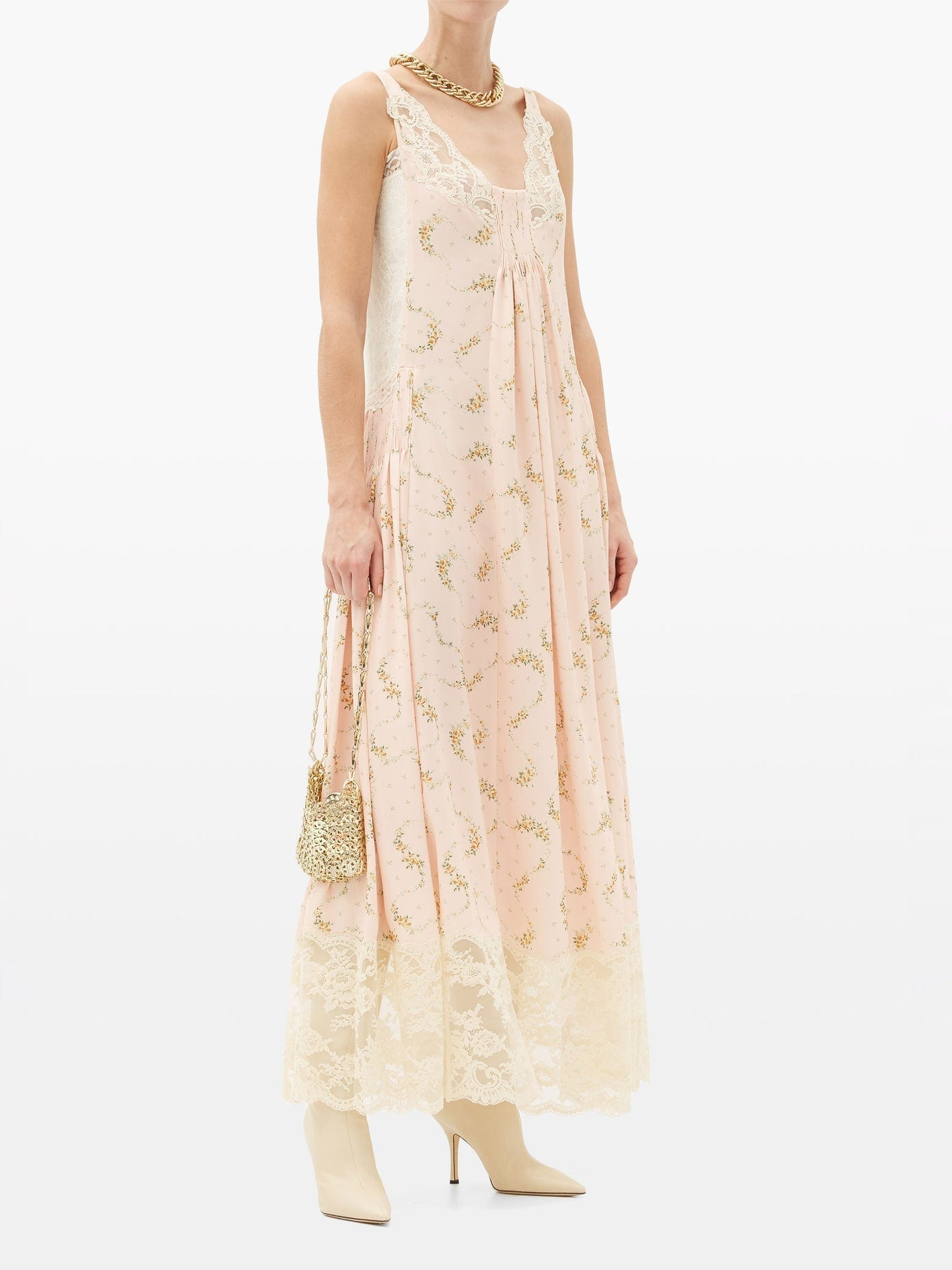 PACO RABANNE Lace-trimmed Floral-print Crepe Dress