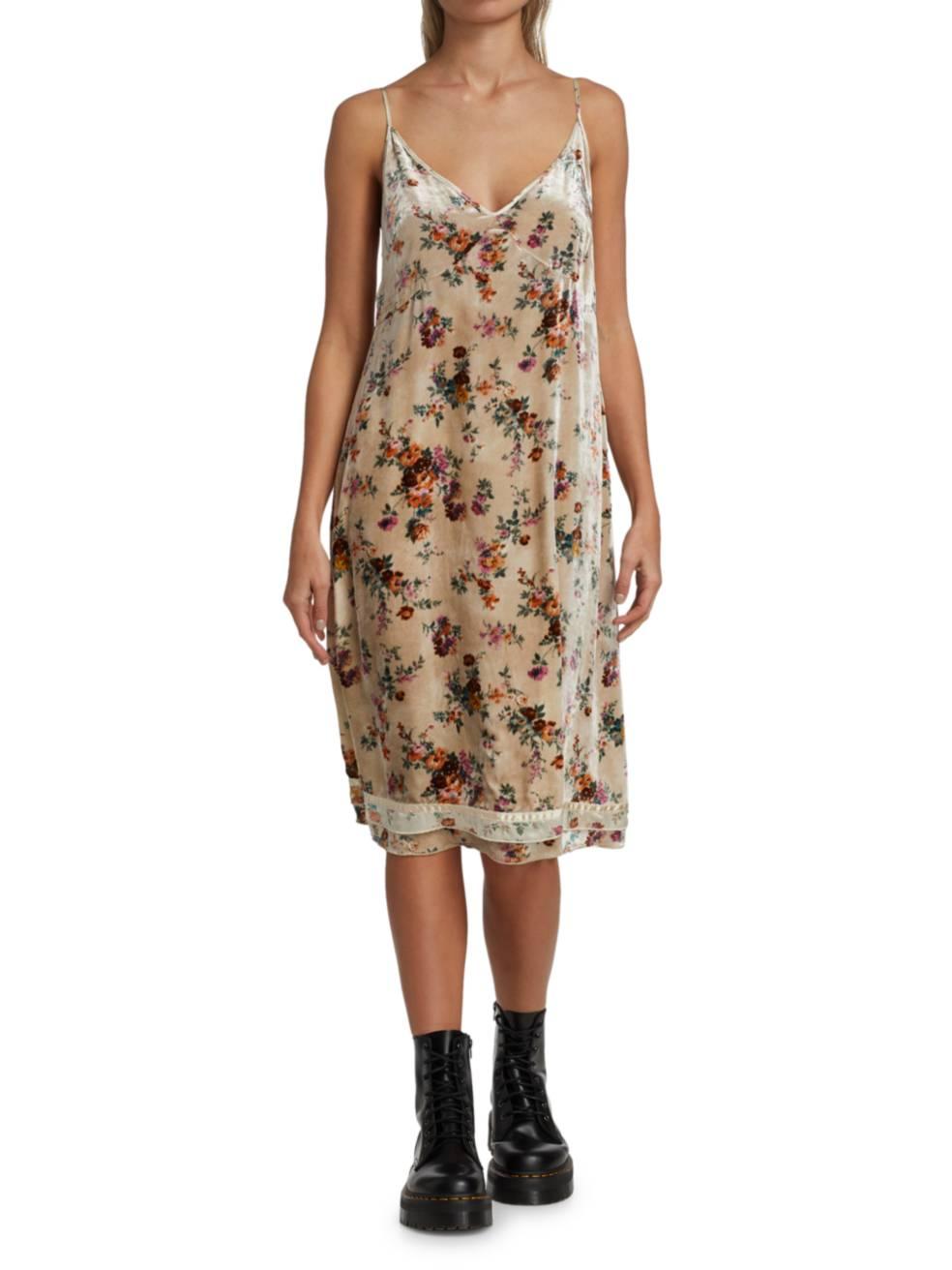 R13 Floral Velvet Slip Dress