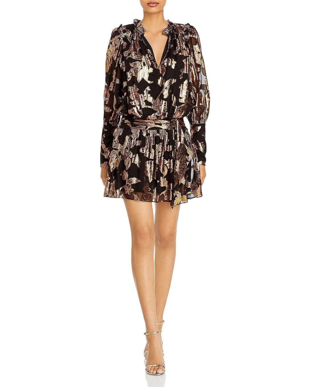 RAMY BROOK Jayda Metallic Print A Line Dress