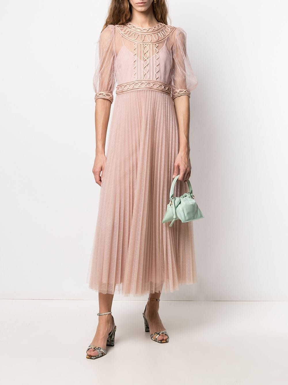 RED VALENTINO Tulle Overlay Pleated Dress