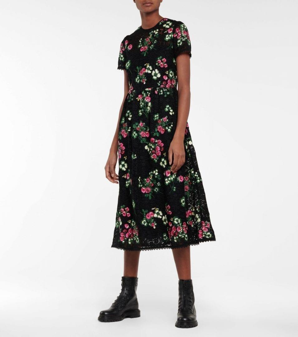 REDVALENTINO Floral Crochet Midi Dress