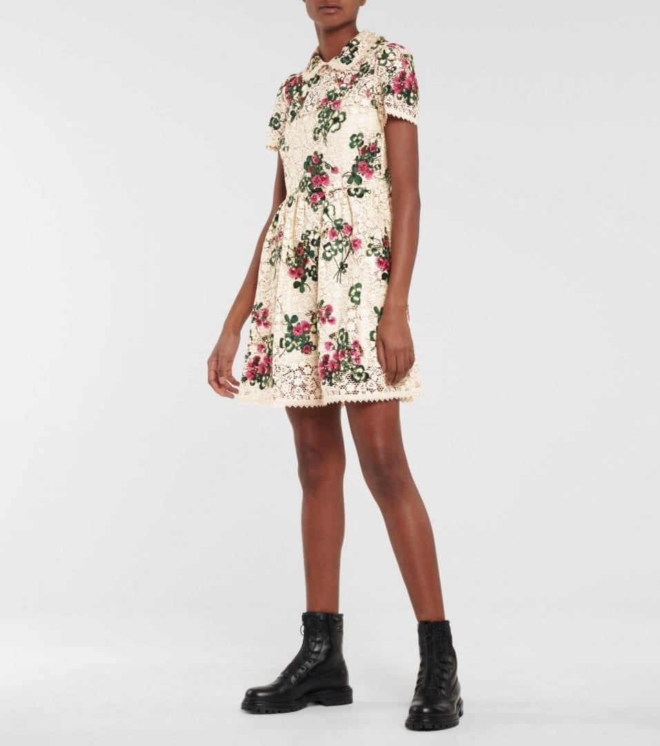 REDVALENTINO Floral Crochet Mini Dress