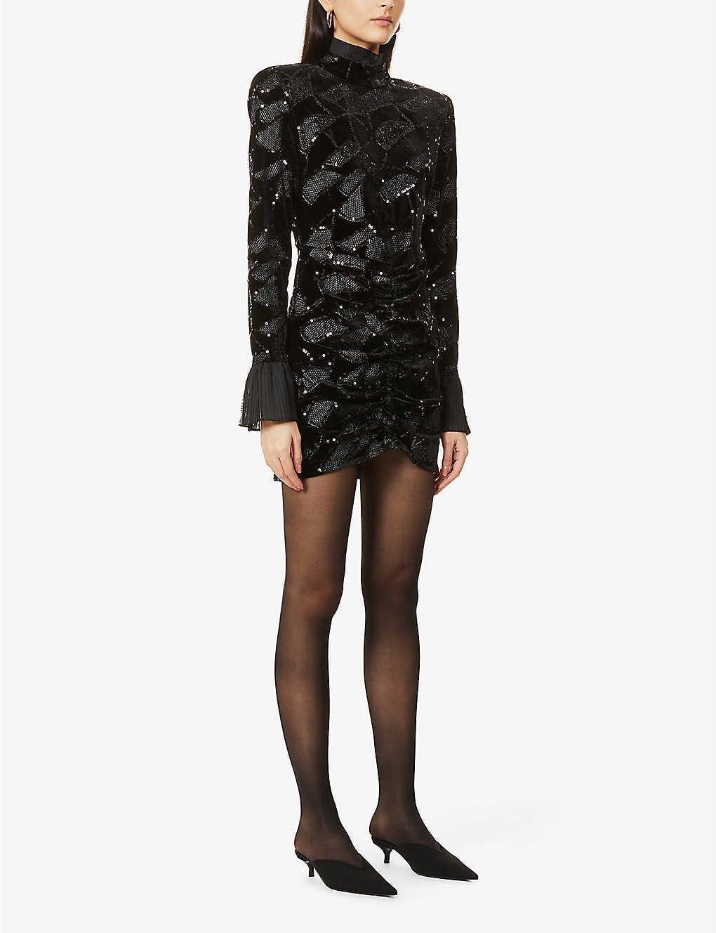 ROTATE BIRGER CHRISTENSEN Miki Geometric Sequinned-pattern Velvet Mini Dress