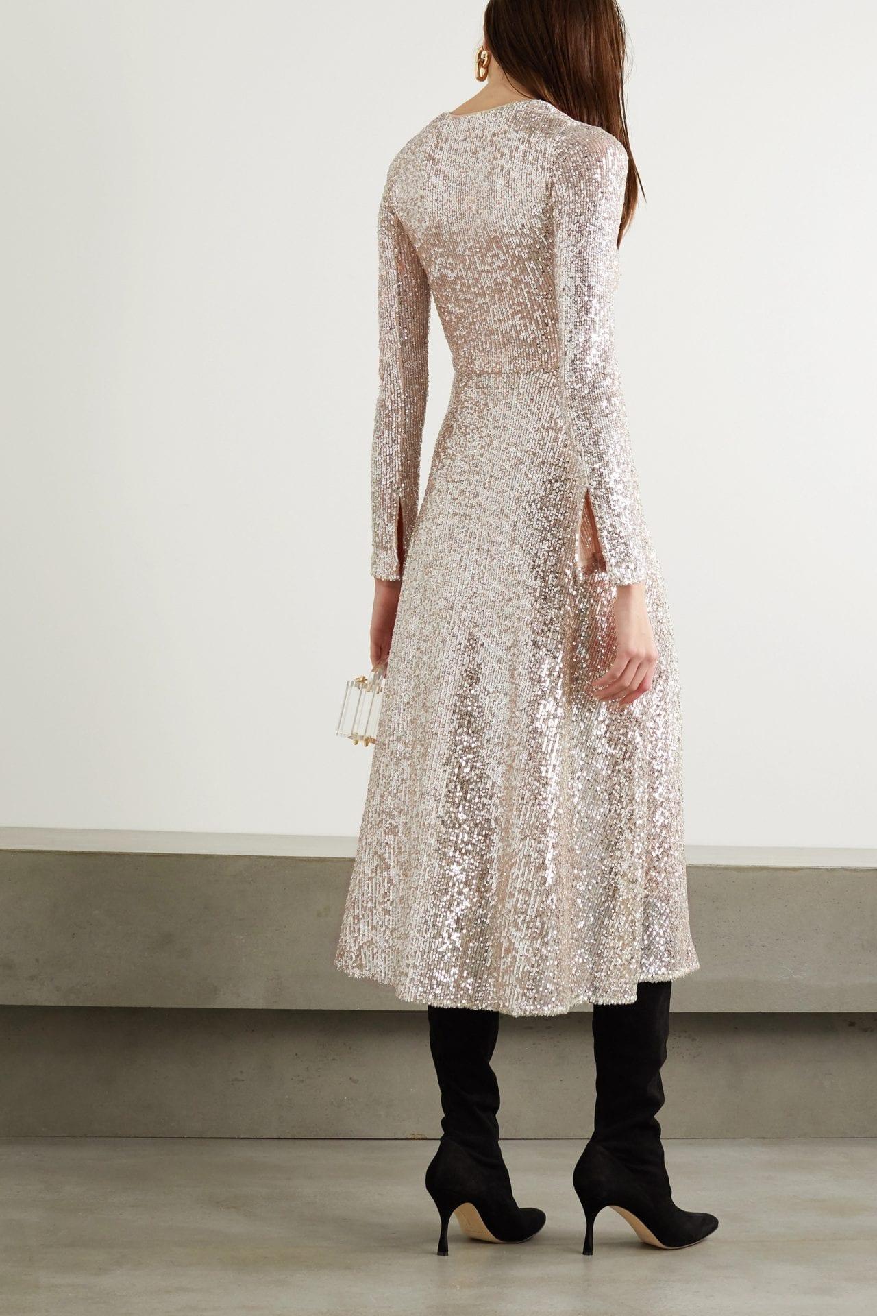 ROTATE BIRGER CHRISTENSEN Sierra Ruched Sequined Stretch-knit Midi Dress