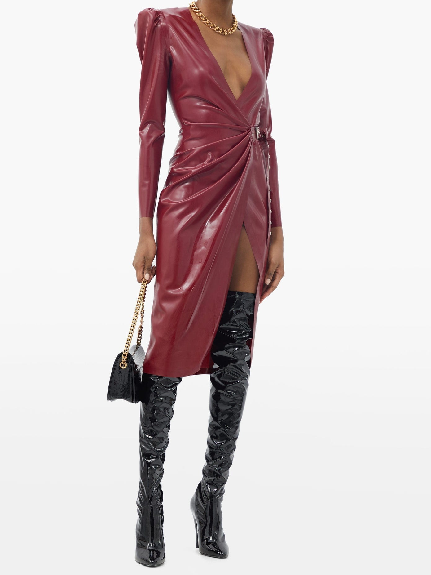 SAINT LAURENT Buckled Latex Wrap Dress