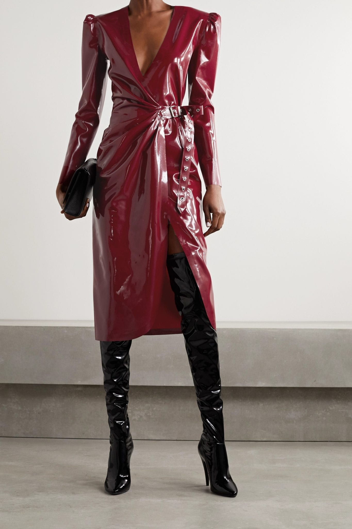 SAINT LAURENT Latex Midi Wrap Dress
