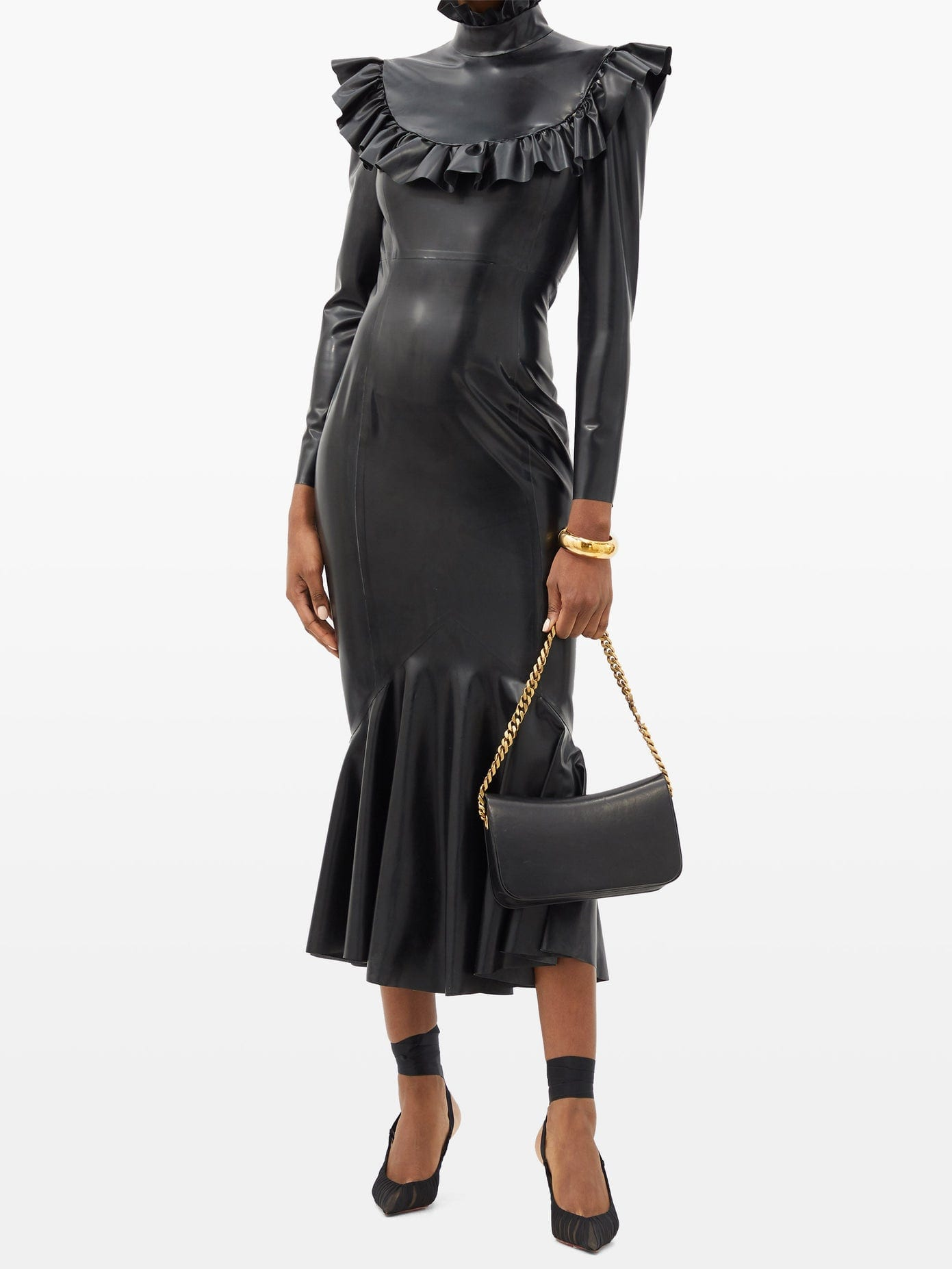SAINT LAURENT Ruffled-collar Fluted-hem Latex Midi Dress