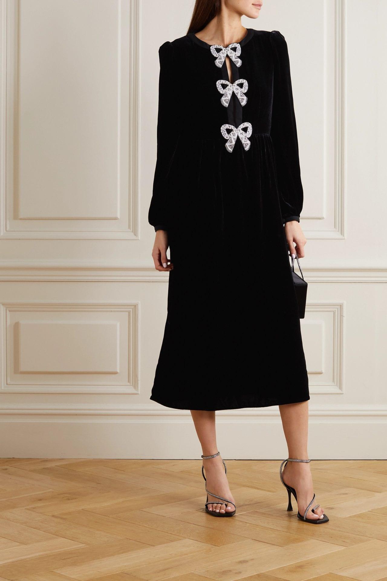 SALONI Camille Embellished Velvet Midi Dress