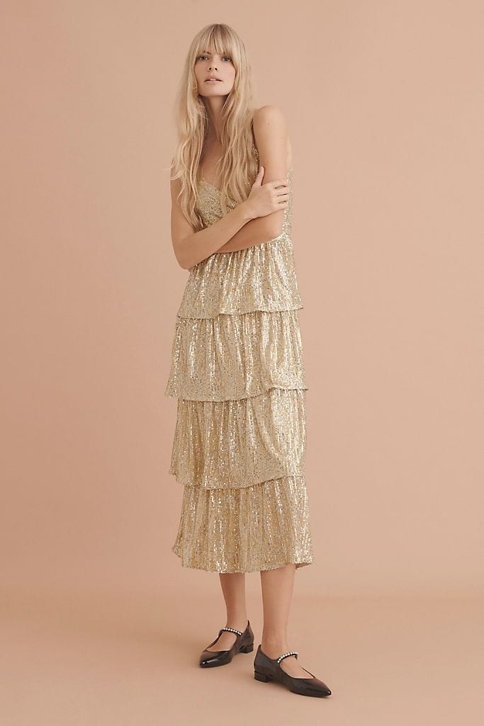 SAYLOR NYC Bexley Tiered Sequined Midi Dress