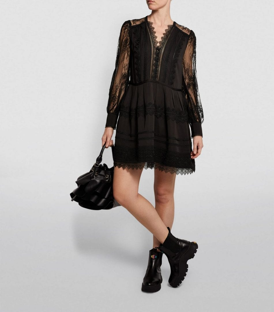 SELF-PORTRAIT Lace-Trim Mini Dress
