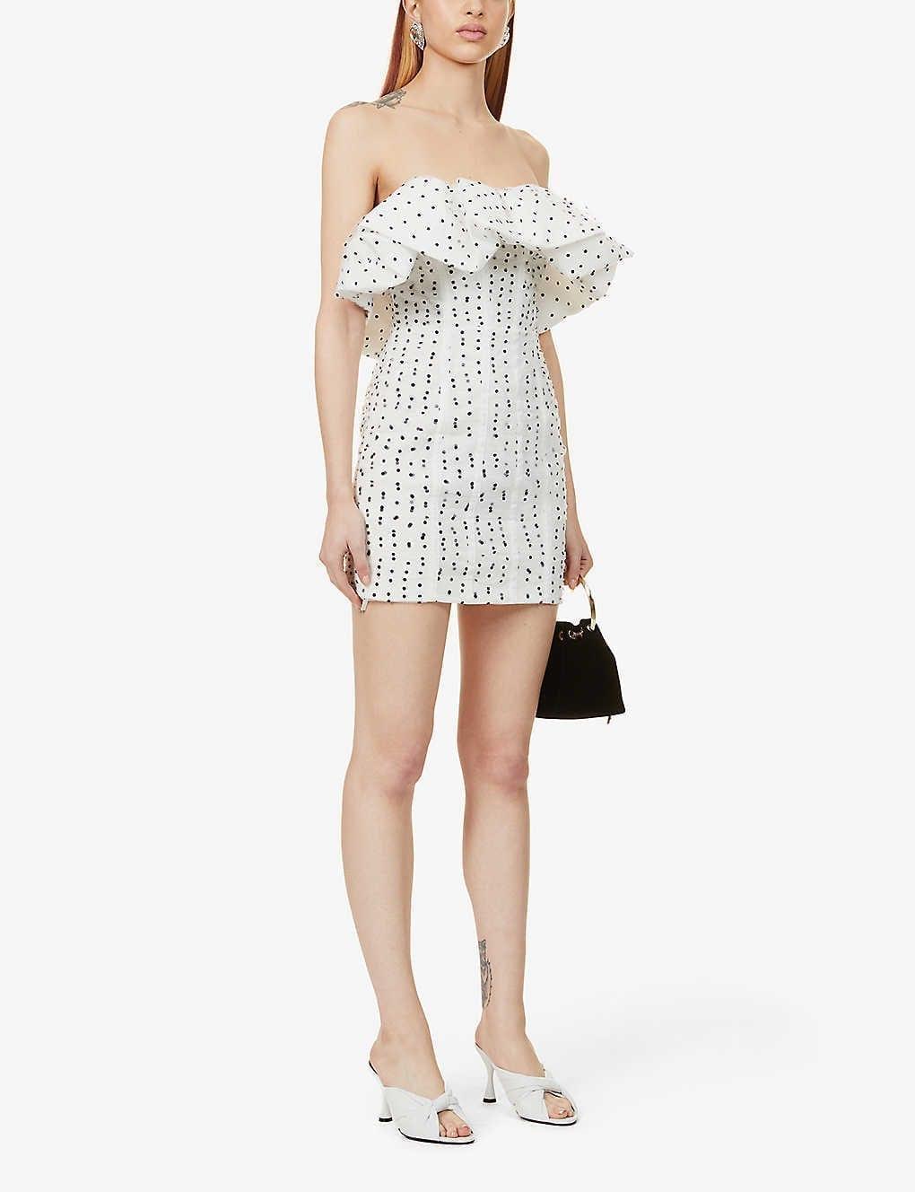 SELF-PORTRAIT Polka Dot-pattern Strapless Woven Mini Dress