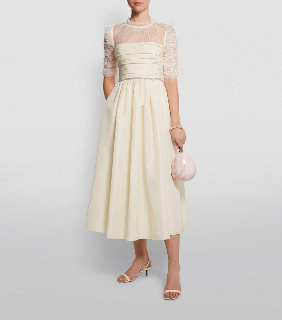 SELF-PORTRAIT Taffeta Midi Dress