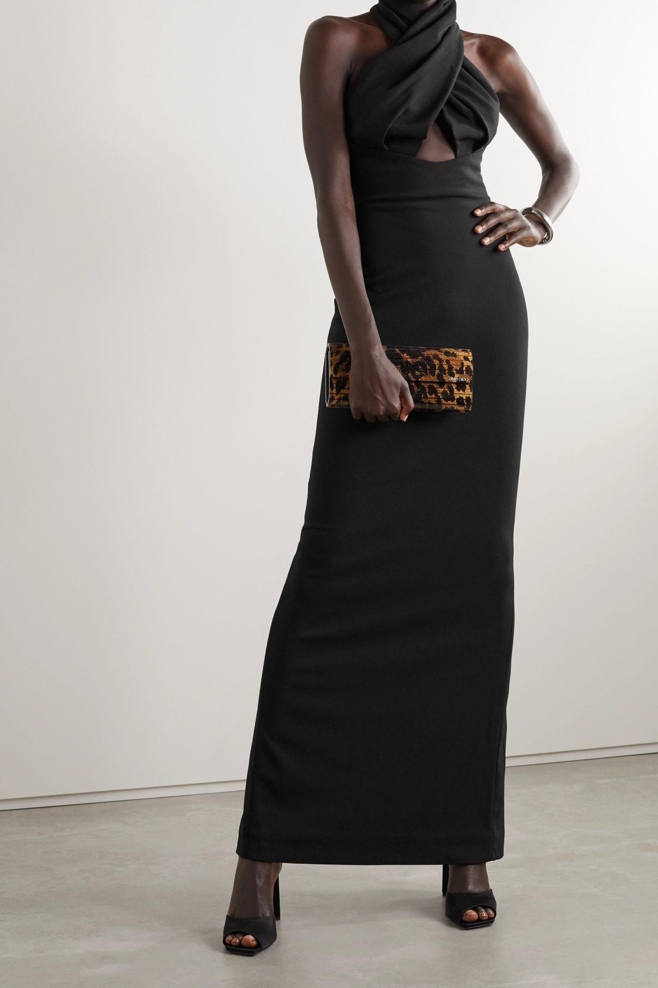 SOLACE LONDON Leora Twist-front Cutout Cady Halterneck Maxi Dress