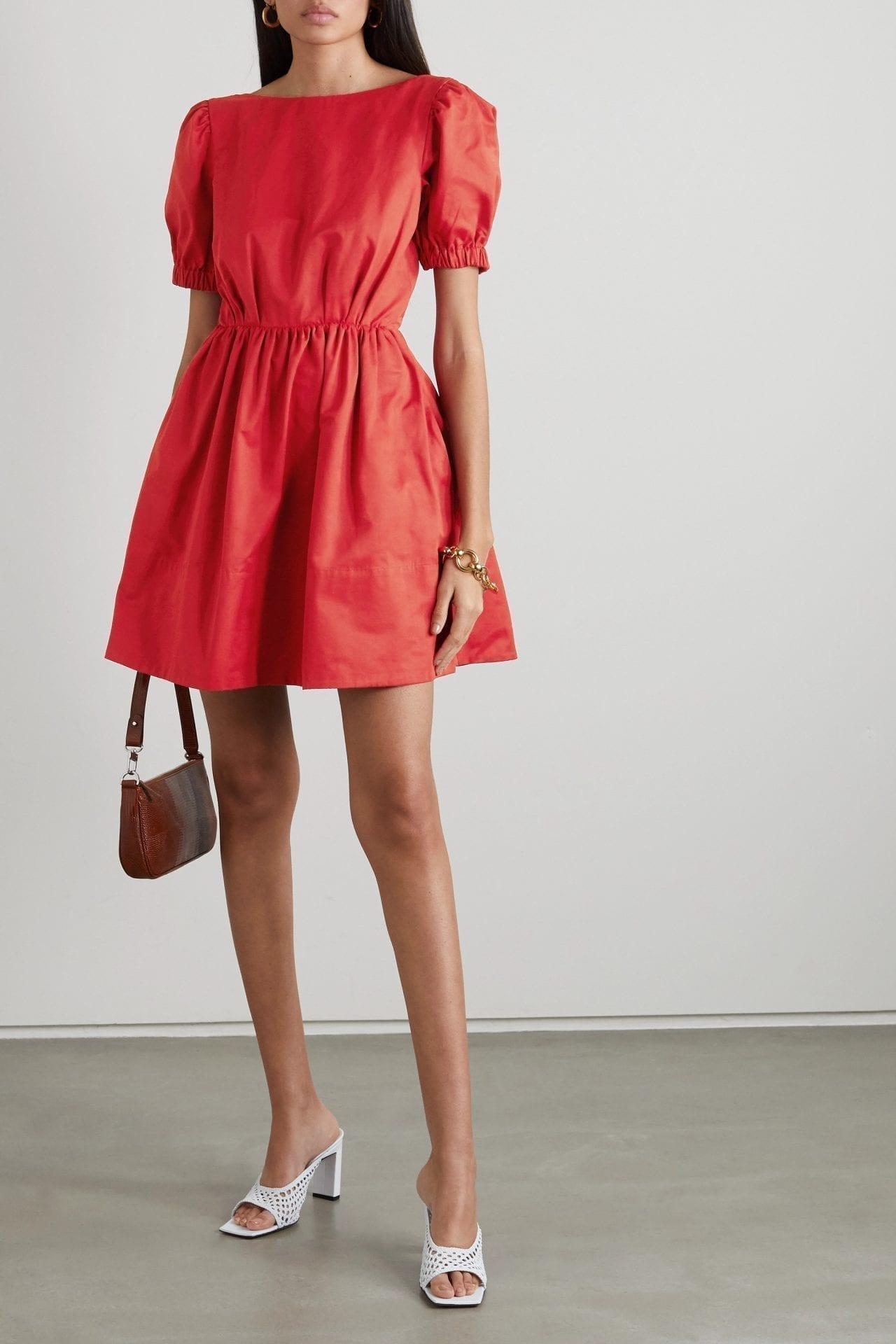 STAUD Alix Open-back Cotton-blend Faille Mini Dress
