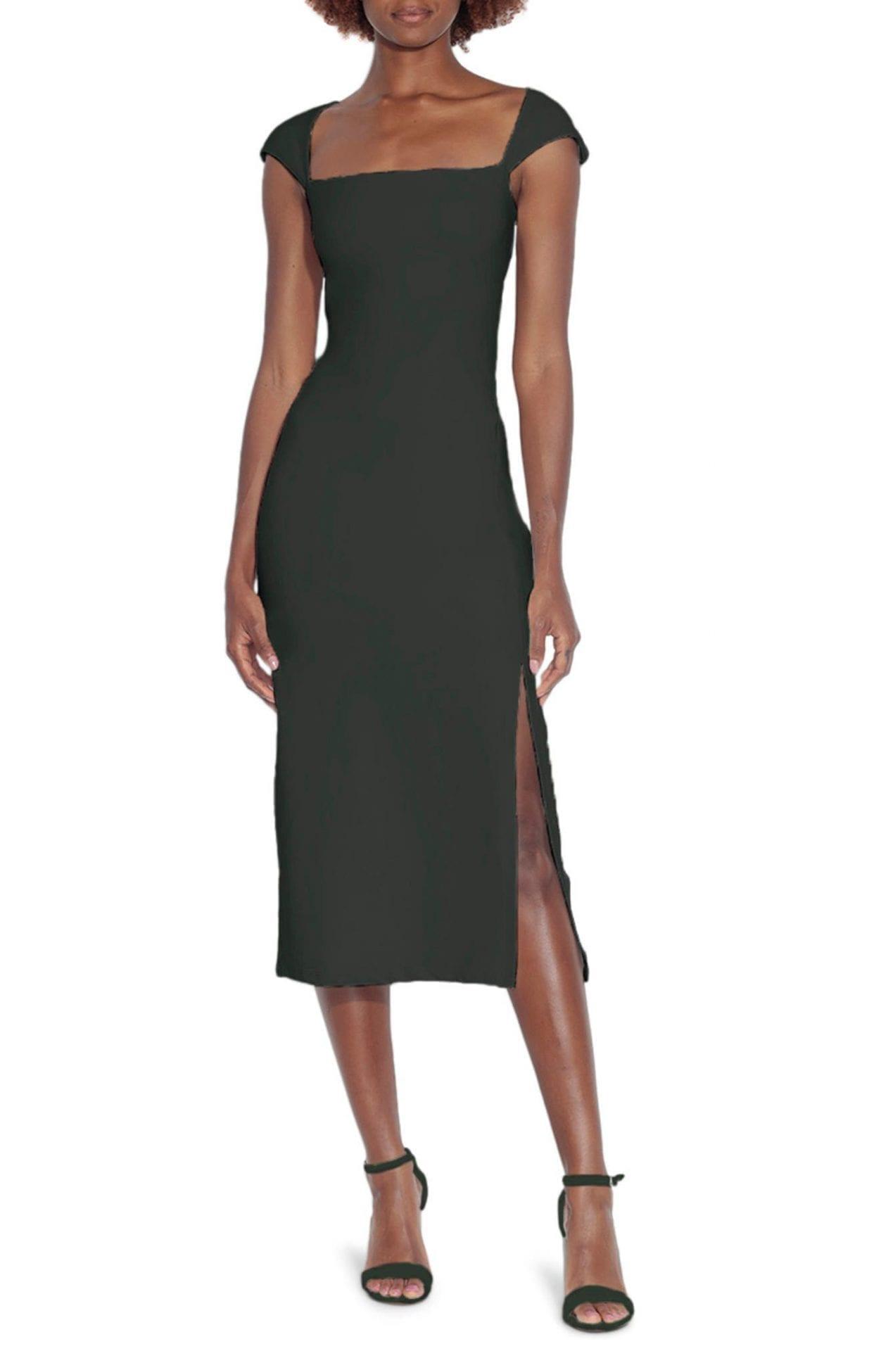 SUSANA MONACO Square Neck Side Slit Sheath Dress
