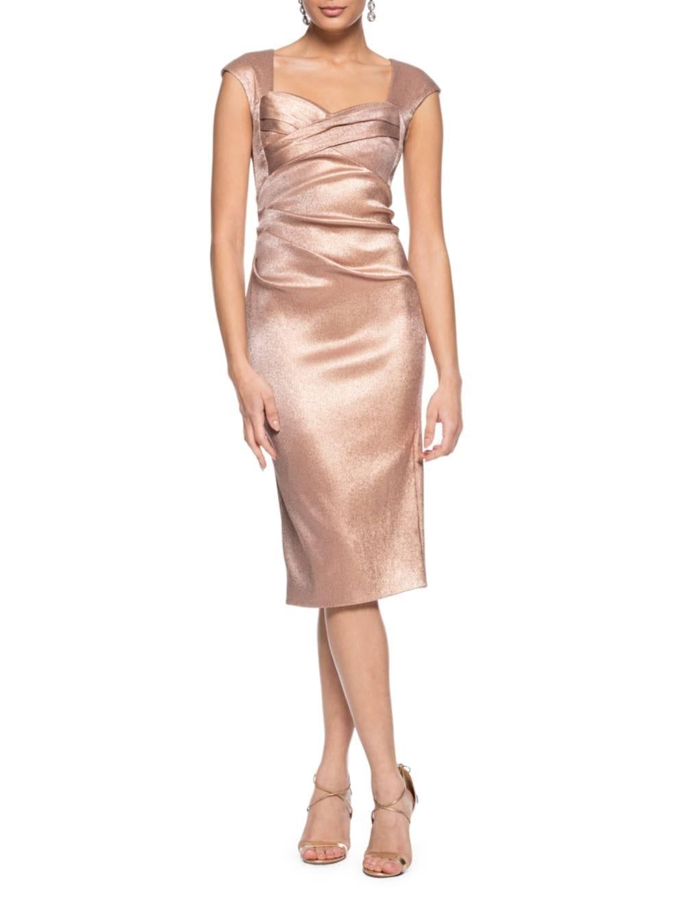 THEIA Cap-Sleeve Stretch Metallic Dress
