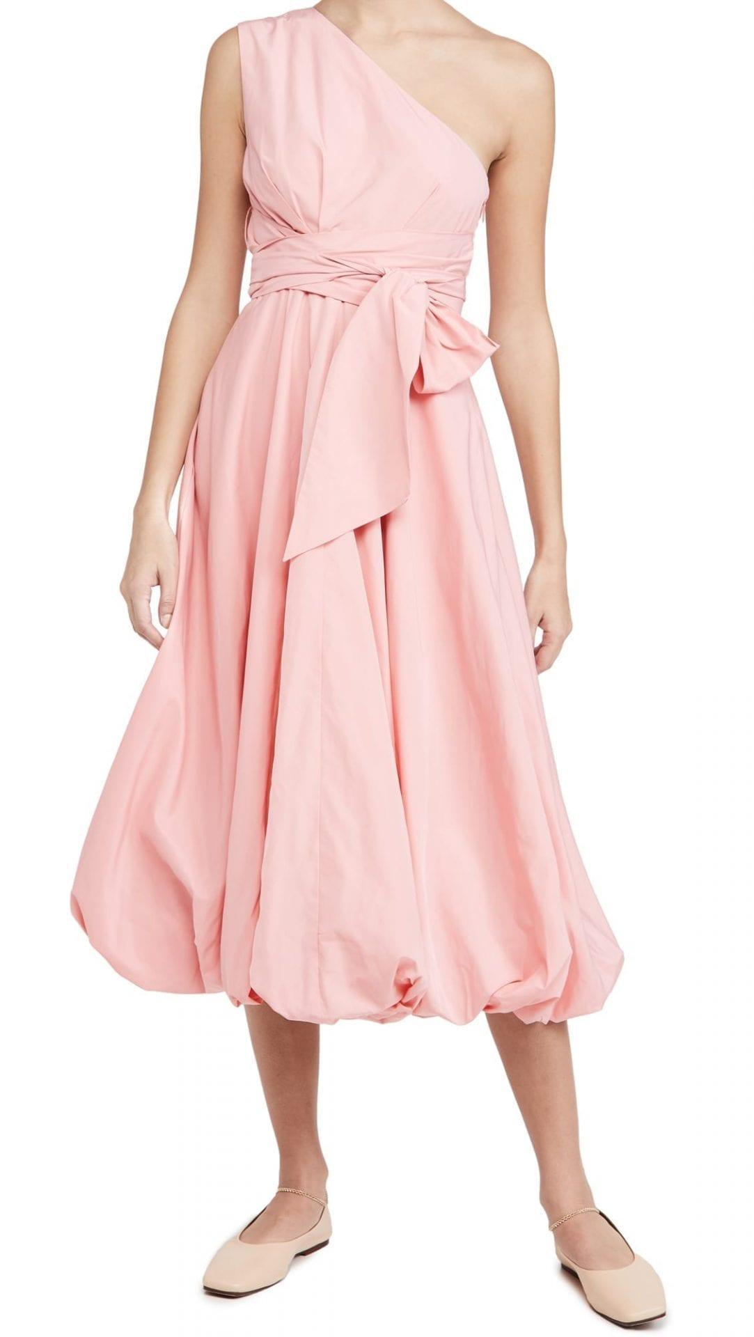 TIBI Taffeta One Shoulder Dress