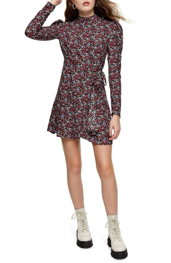 TOPSHOP Floral Print Long Sleeve Mini Dress