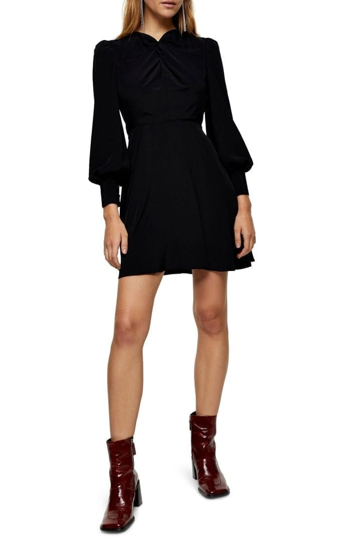 TOPSHOP Twist Neck Long Sleeve Mini Dress