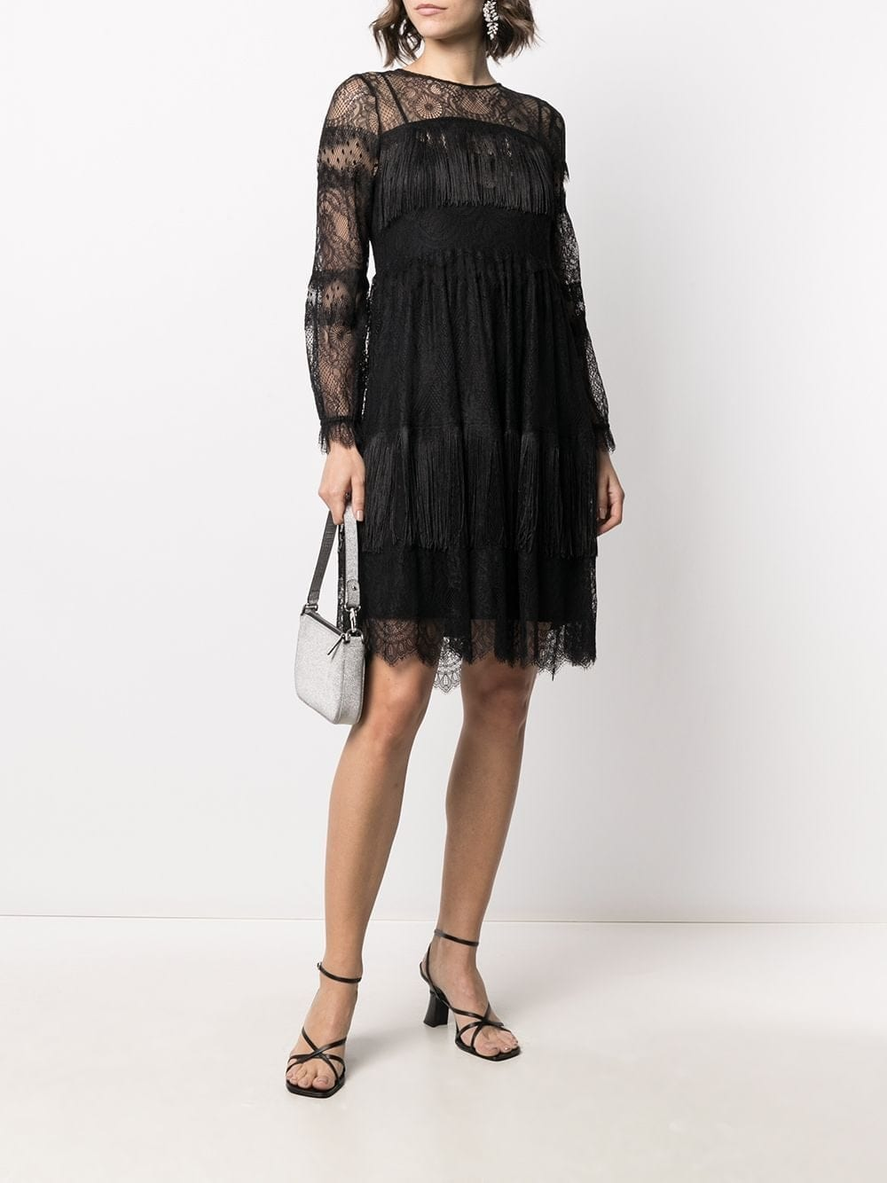 TWIN-SET Fringed Lace-sleeve Dress