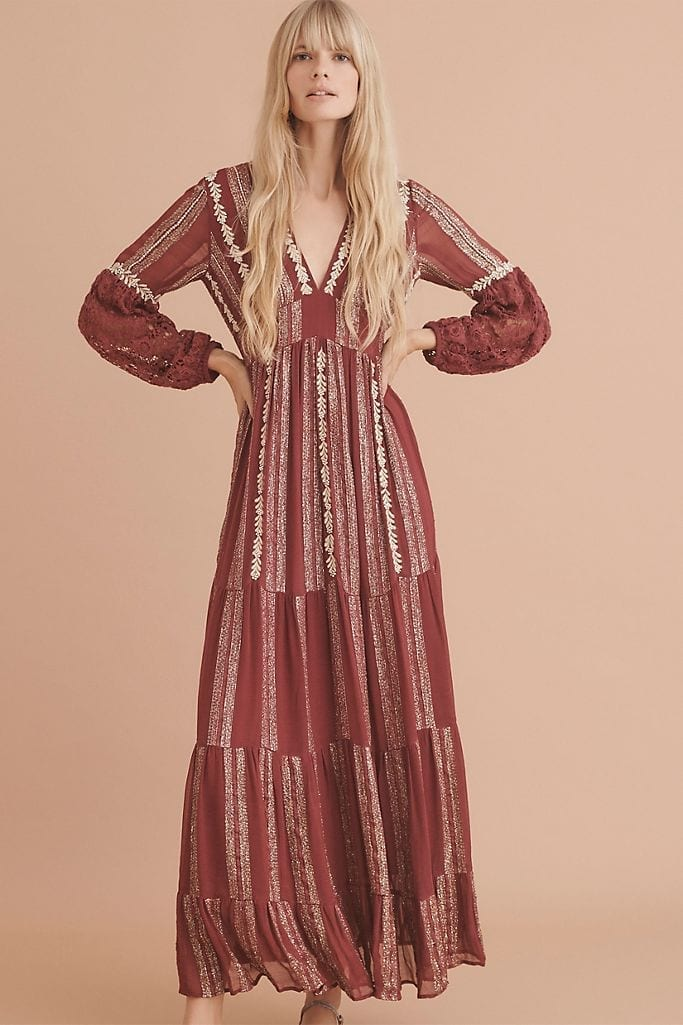 VERB BY PALLAVI SINGHEE Blaise Embroidered Lace Maxi Dress