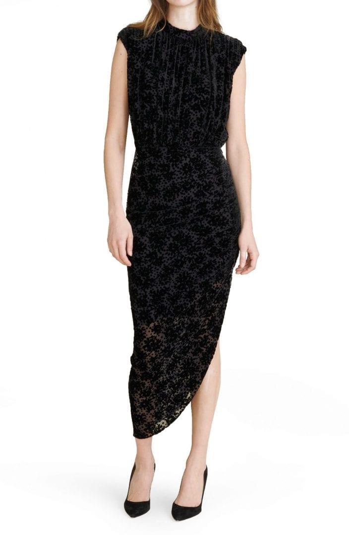 VERONICA BEARD Kendall Asymmetrical Burnout Velvet Cocktail Dress