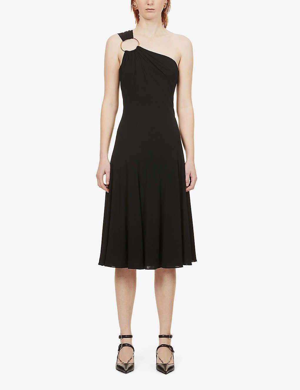 VERSACE One-shoulder Hoop-embellished Stretch-knit Midi Dress