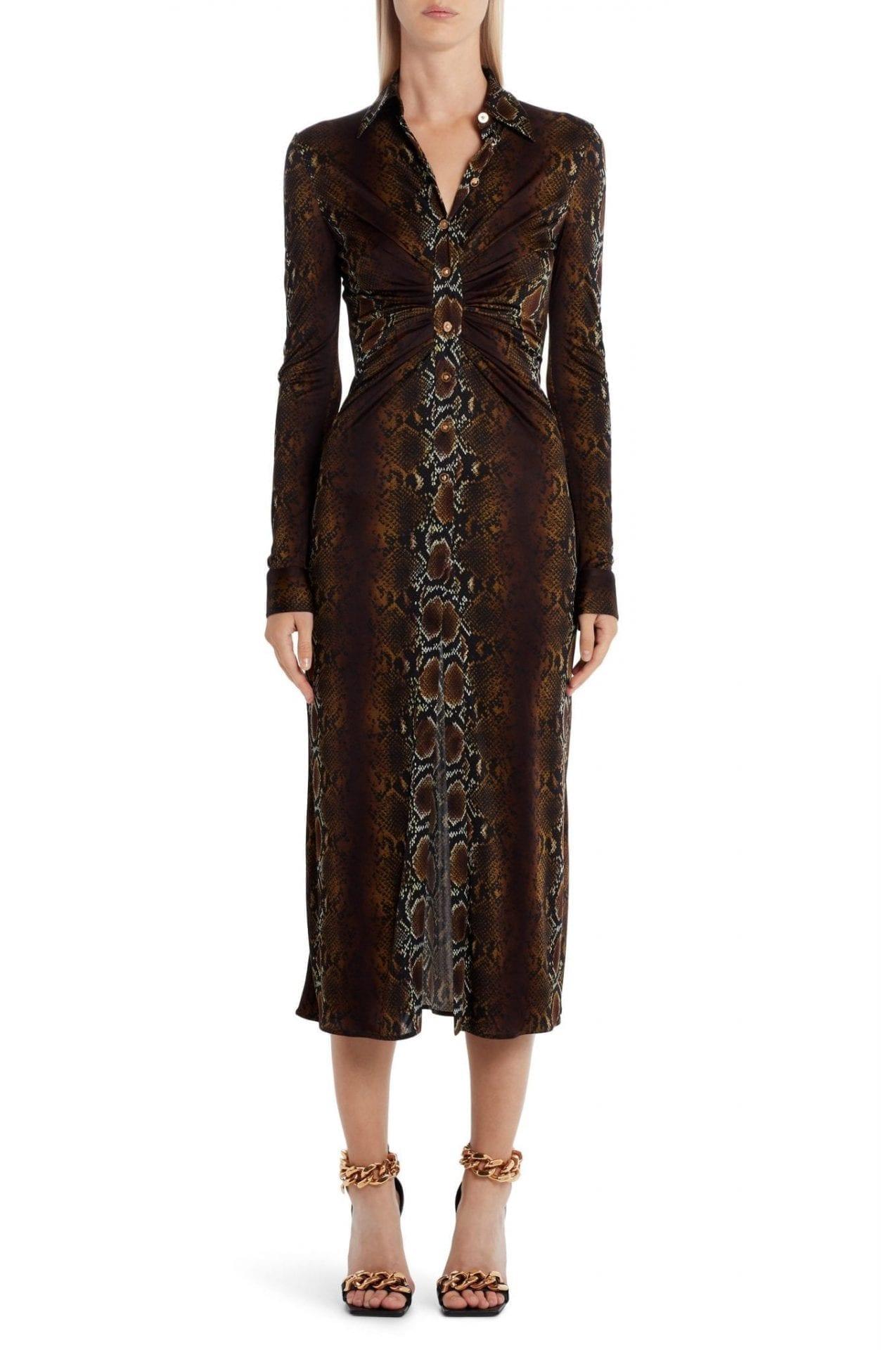 VERSACE Python Jersey Shirt Dress