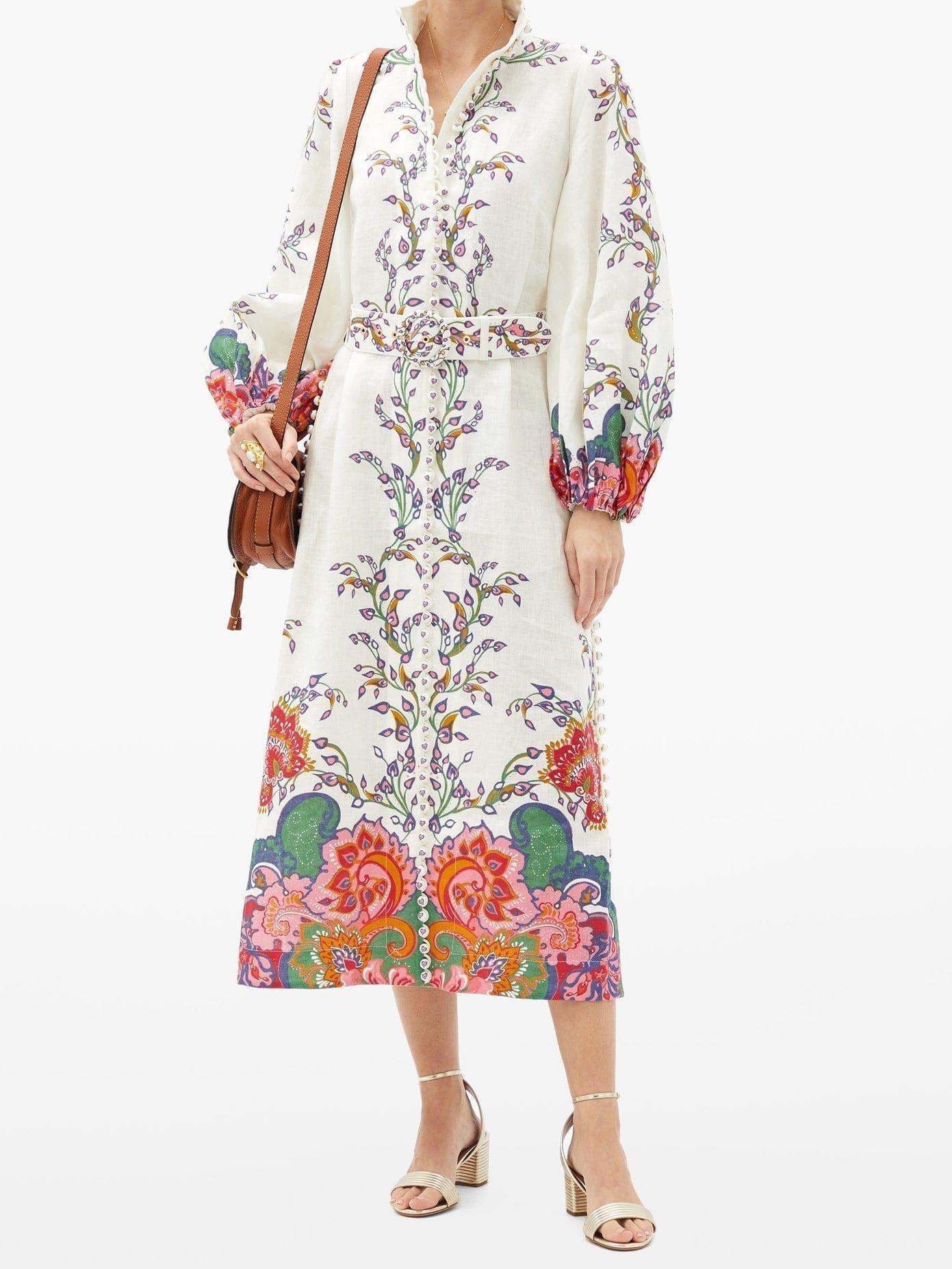 ZIMMERMANN Lovestruck Floral-print Linen Shirt Dress