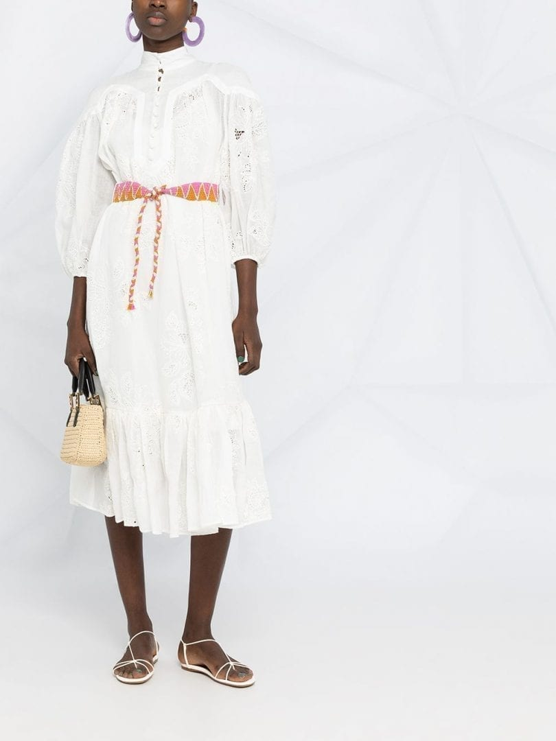 ZIMMERMANN Riders Floral-embroidered Midi Dress