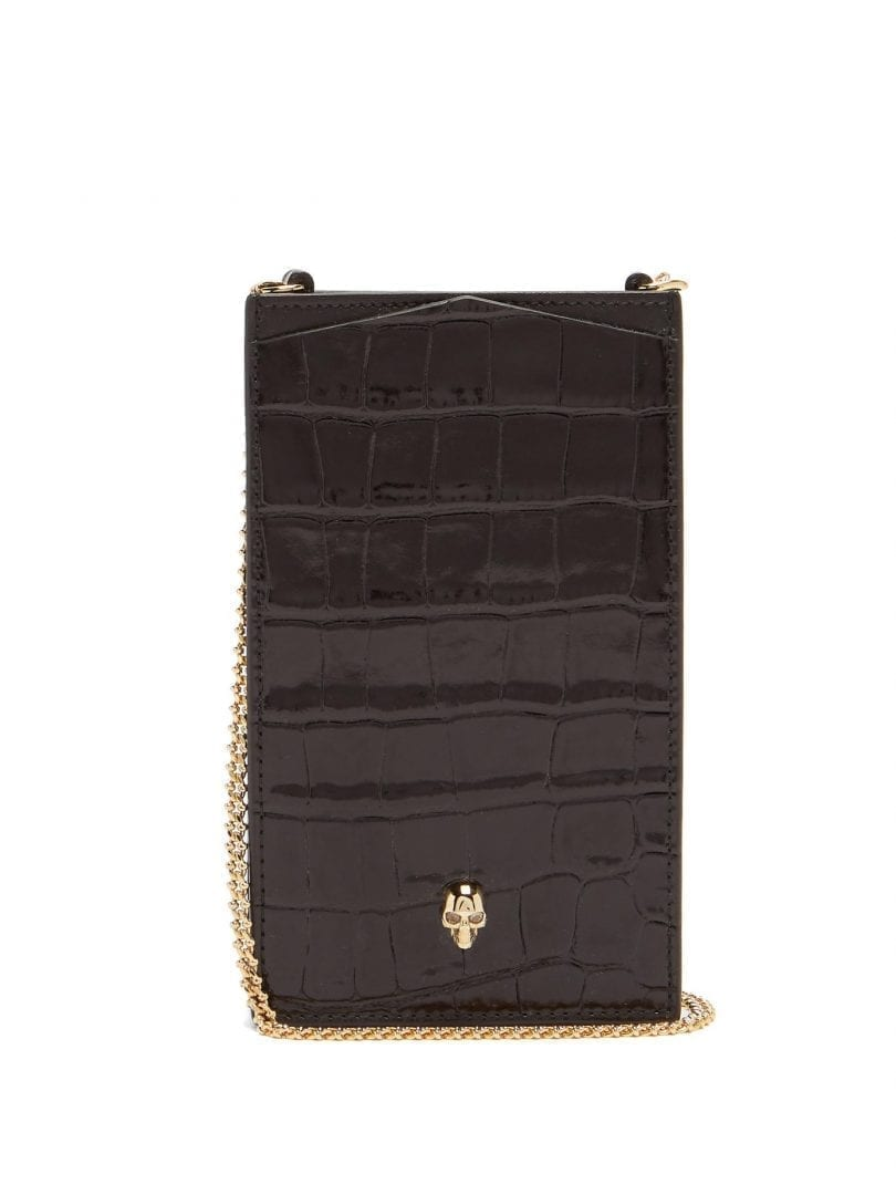 ALEXANDER MCQUEEN Skull-stud Crocodile-effect Leather Cross-body Bag