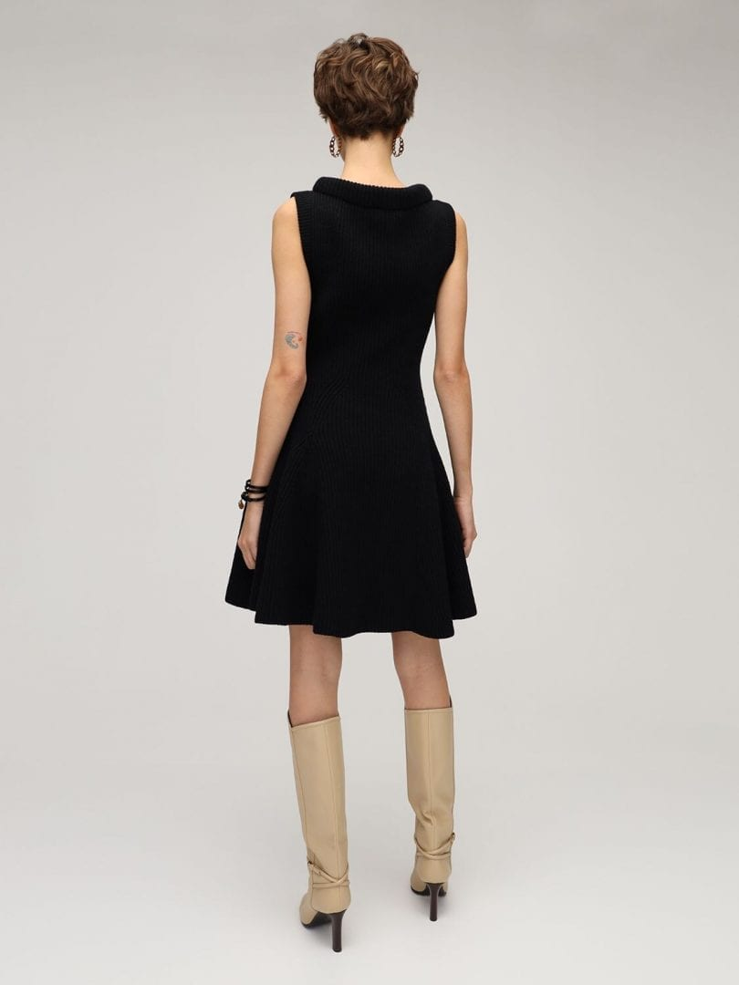 ALEXANDER MCQUEEN Sleeveless Wool Knit Mini Dress