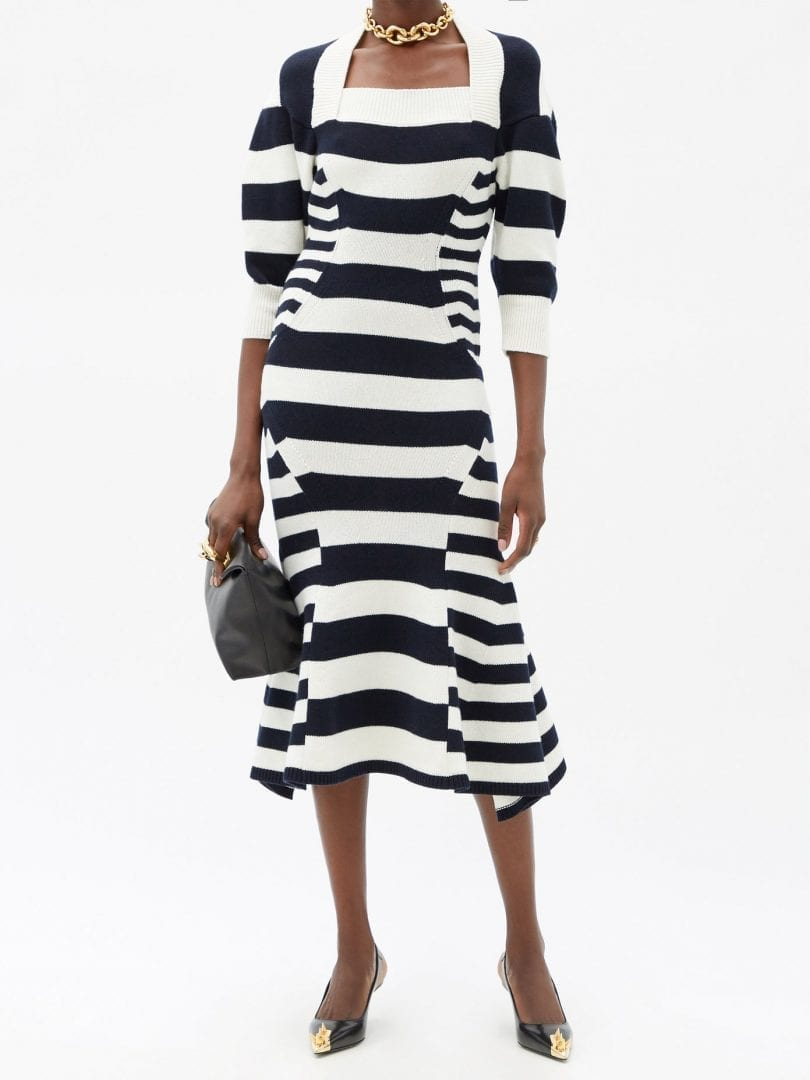 ALEXANDER MCQUEEN Square-neck Striped Wool-blend Sweater Dress