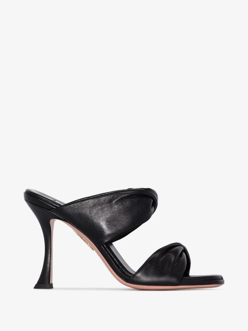 AQUAZZURA Black Twist 95 Leather Sandals
