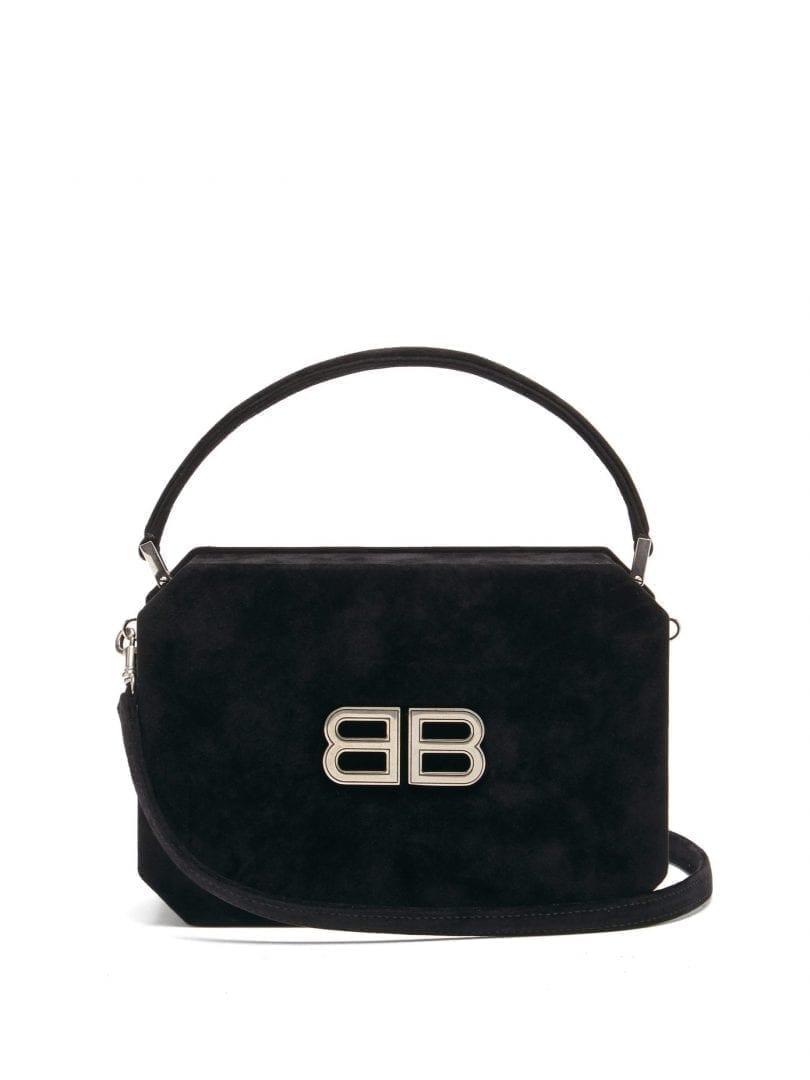 BALENCIAGA Bb-logo Angular Velvet Bag