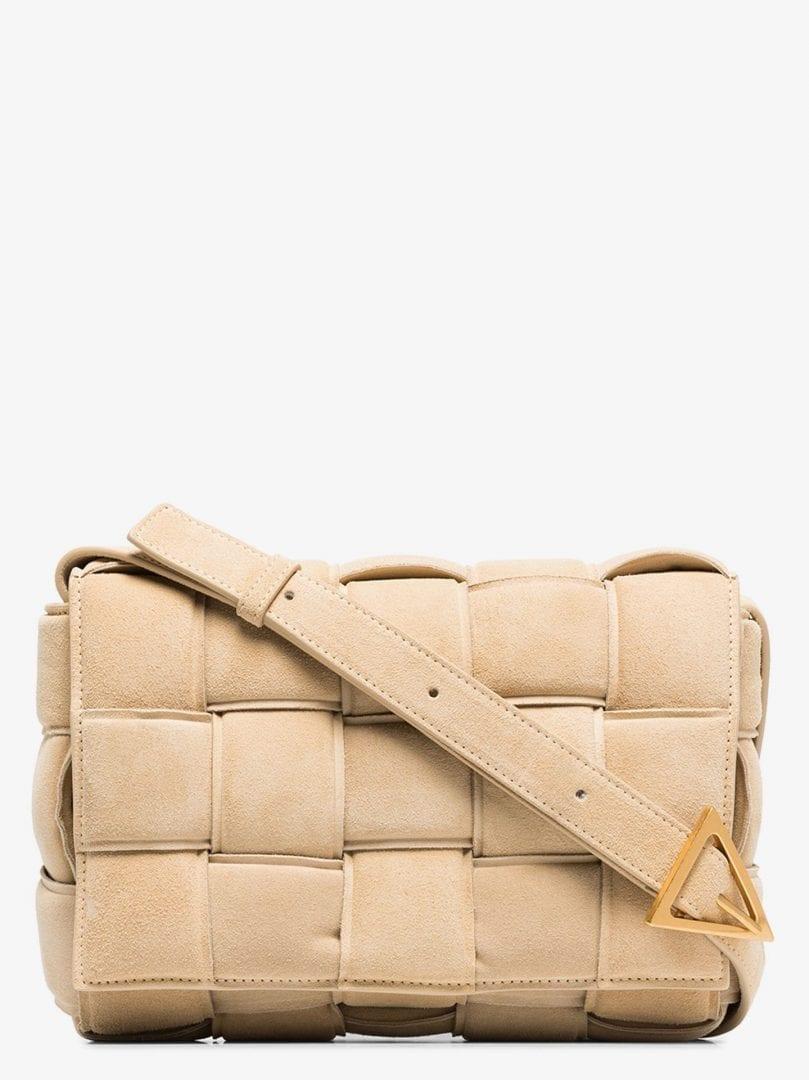 BOTTEGA VENETA Beige The Padded Cassette Suede Shoulder Bag