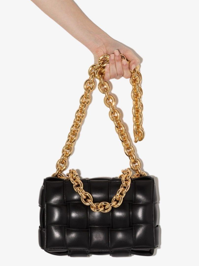BOTTEGA VENETA Black The Chain Padded Cassette Leather Shoulder Bag