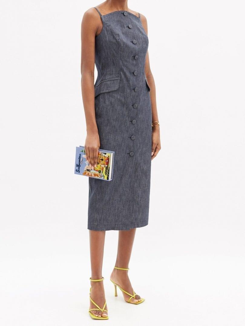 CAROLINA HERRERA Curved-neck Denim Midi Dress