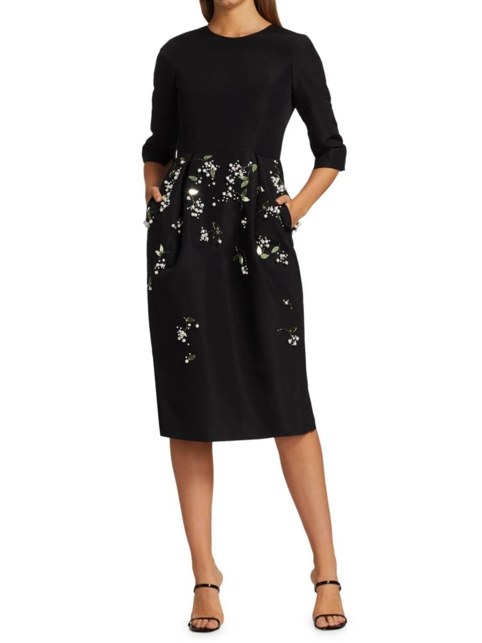 CAROLINA HERRERA Embellished Silk Crepe de Chine Sheath Dress
