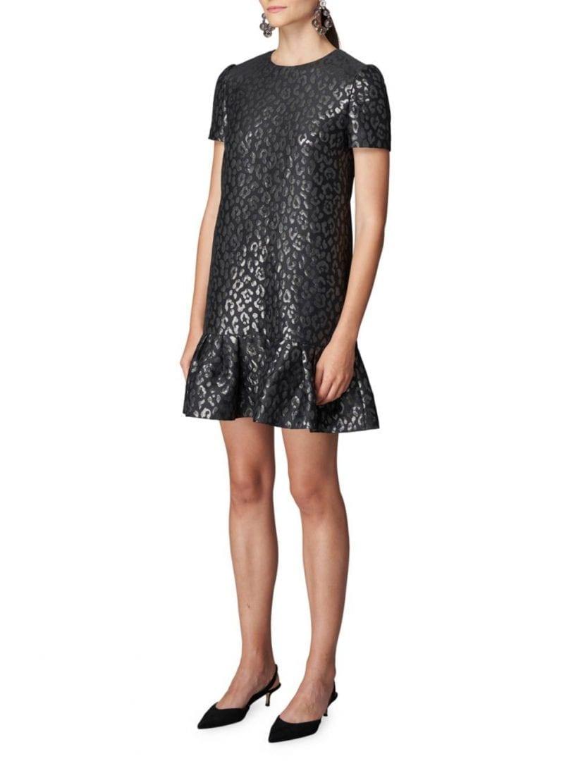 CAROLINA HERRERA Metallic Leopard-Print Ruffle-Hem Dress