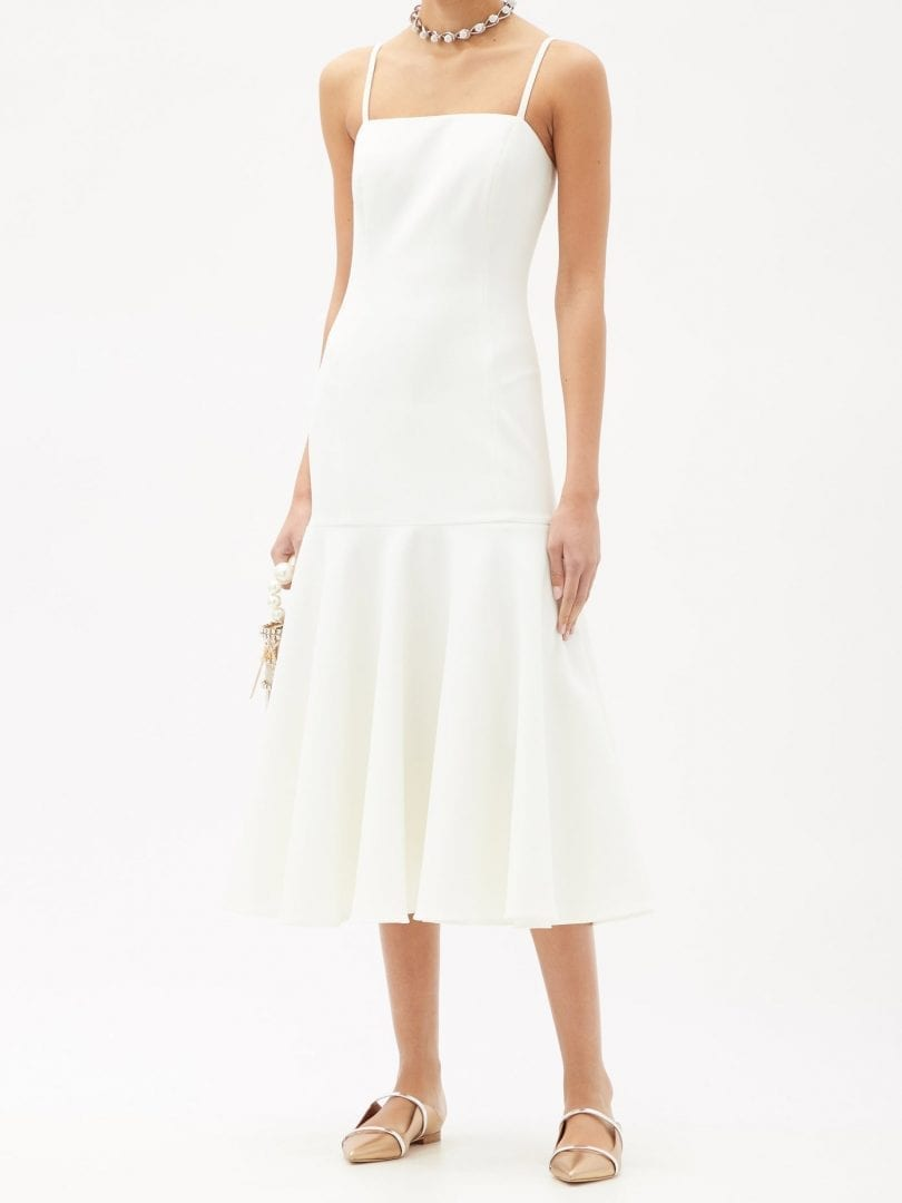 CAROLINA HERRERA Square-neck Dropped-waist Crepe Dress