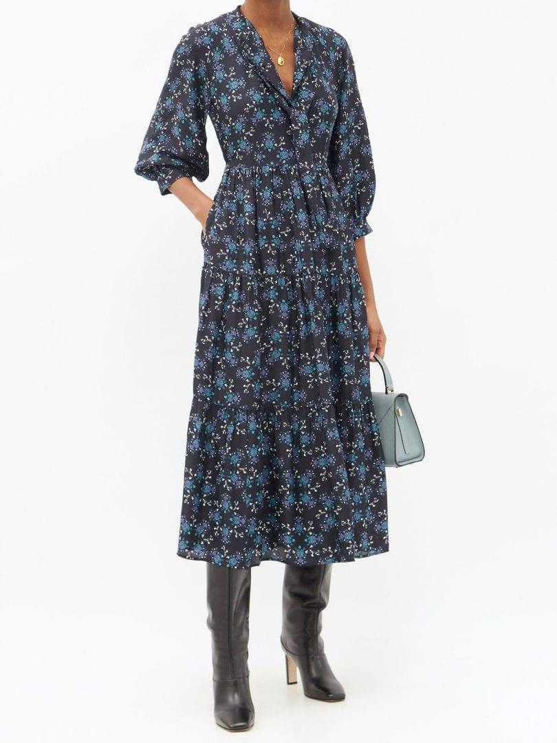 CEFINN Olivia Floral-print Twill Midi Dress
