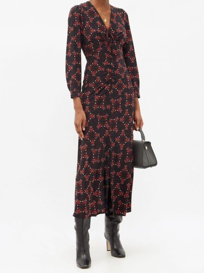 CEFINN Ophelia Floral-print Silk-twill Midi Dress