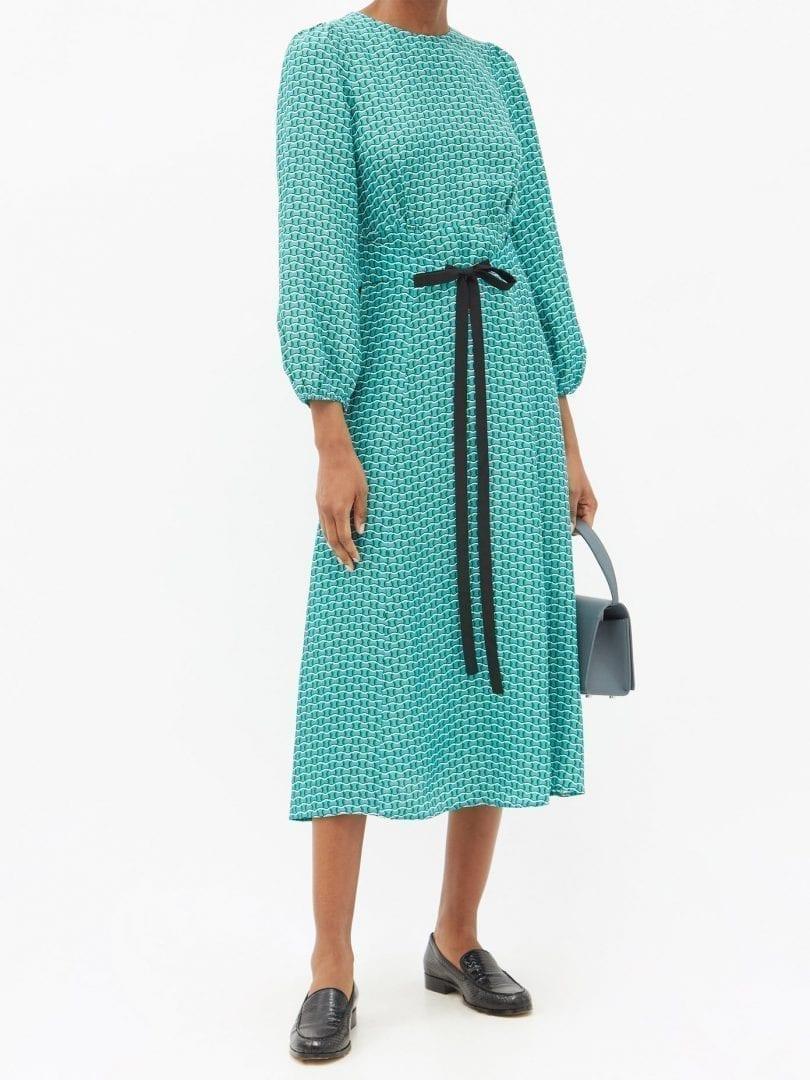 CEFINN Selma Geometric-print Twill Midi Dress