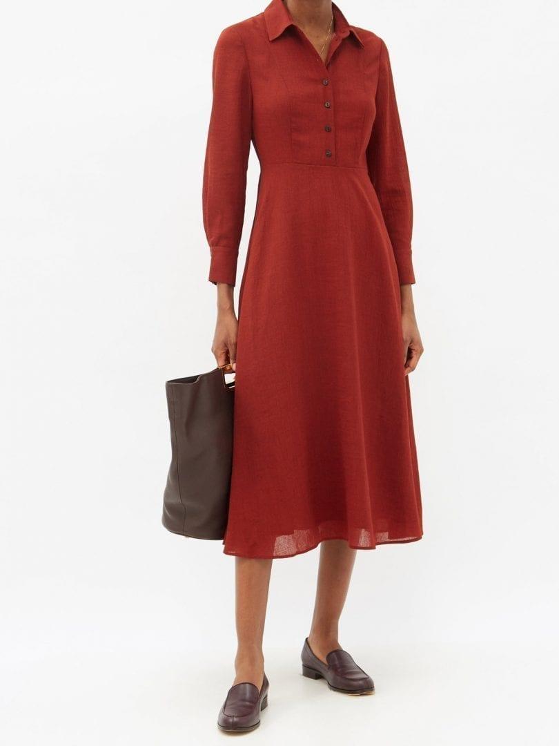 CEFINN Veronica Point-collar Voile Midi Dress