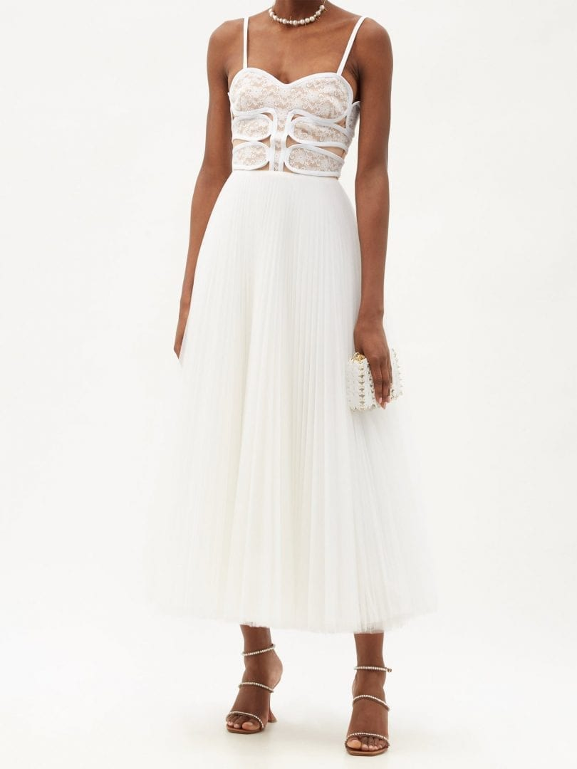 CHRISTOPHER KANE Lace-bodice Pleated Tulle Dress