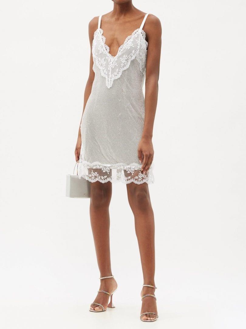 CHRISTOPHER KANE Lace-trim Crystal-mesh Cami Mini Dress