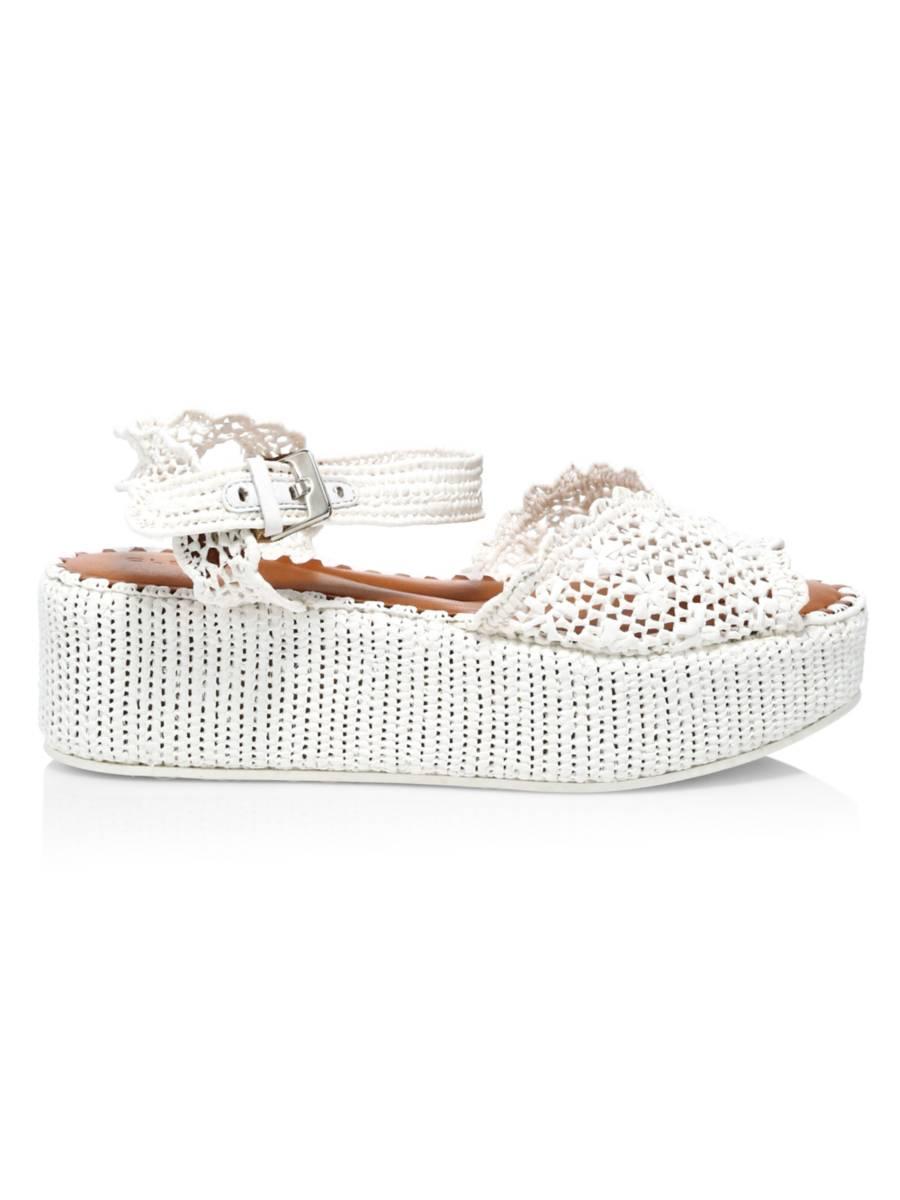 CLERGERIE Aimie Raffia Platform Wedge Sandals