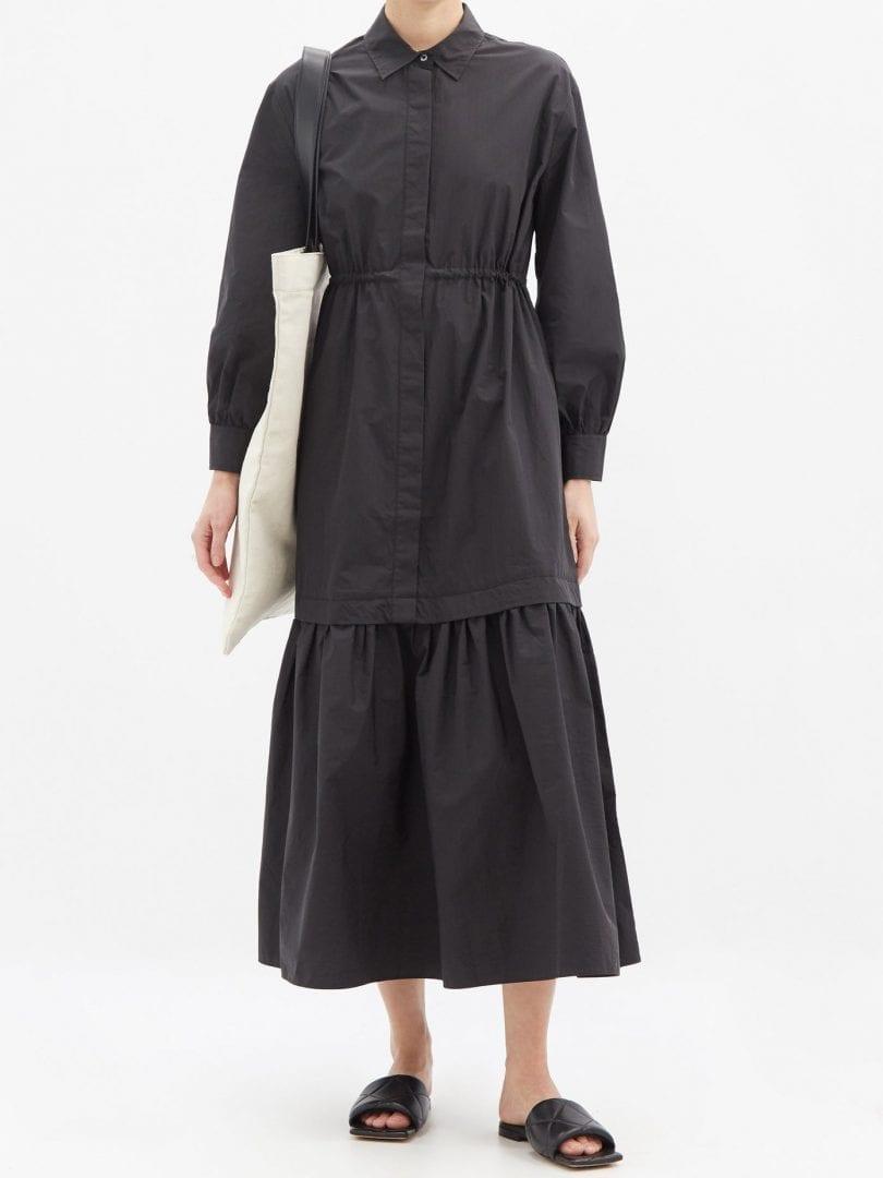 CO Dropped-hem Cotton-blend Poplin Maxi Shirt Dress