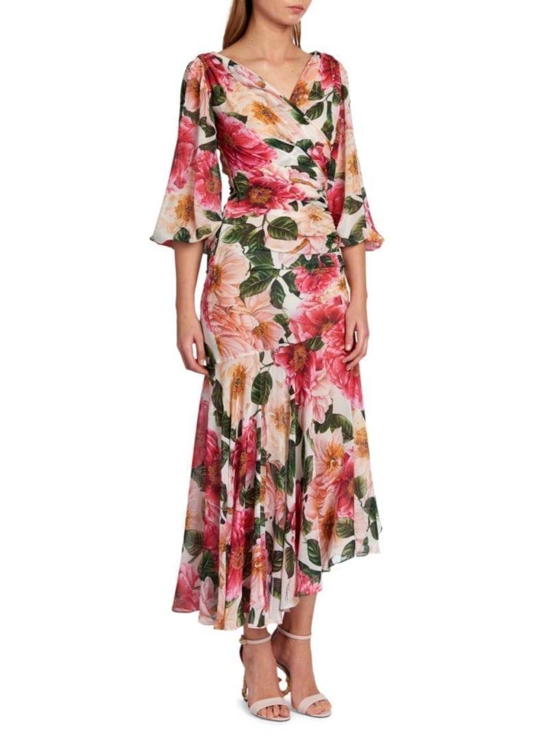 DOLCE & GABBANA Floral Georgette Silk Flutter-Sleeve Midi Dress